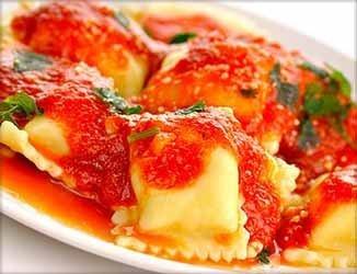 Raviolis rellenos de queso